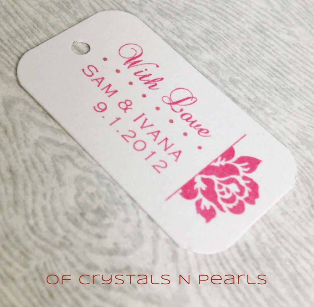 24 Side Rose Customised Gift Tags - Wedding Favor Tags - Thank You ...